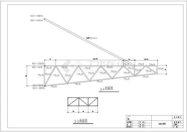 某钢结构雨蓬设计cad全套建筑施工图纸(含结构设计)-图一