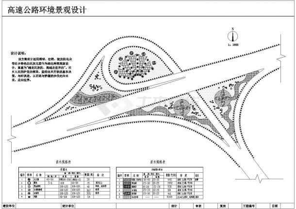 某高速公路立交桥环境景观设计cad总平面施工图(含设计说明)-图一