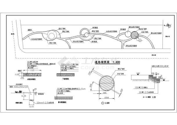 某城市道路旁绿化规划设计cad详细施工图-图二