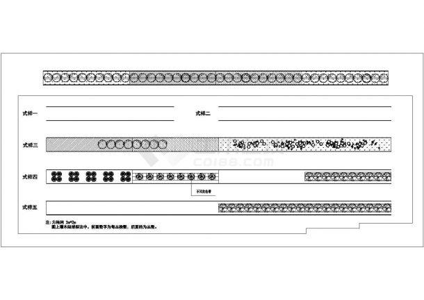 某市政道路绿化规划设计cad施工大样图(含5种式样设计)-图一