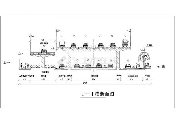 某城市高架道路绿化规划设计cad断面方案图-图一