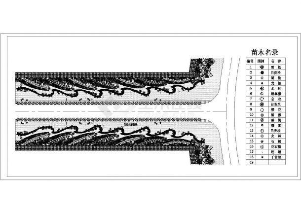 某市政道路绿化规划设计cad 平面施工图-图二