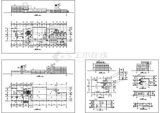 办公楼设计_南方某二层砖混结构办公楼设计cad全套建筑施工图(标注详细)-图一