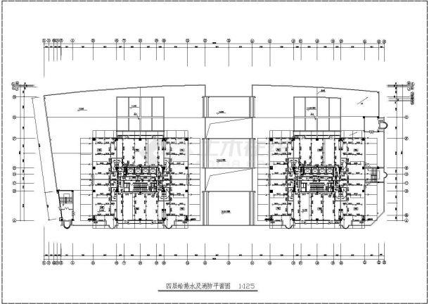 河南某二十四层高层办公楼给排水CAD图-图二