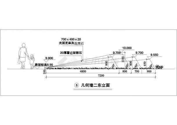 某几何墙景观设计cad建筑施工详图-图二