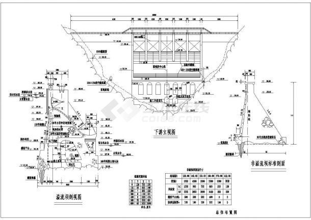 成都市某城镇砌石坝总体布置建筑设计CAD施工图-图二