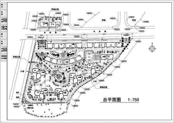 肇庆市广鑫家园小区总平面规划设计CAD图纸(占地4万平米)-图一
