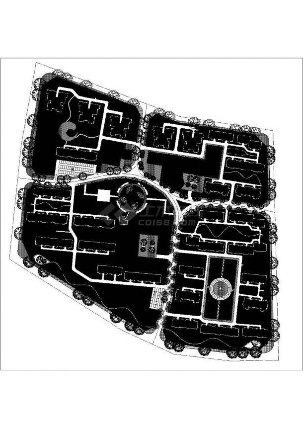 西安市高科花园小区总平面规划设计CAD图纸(占地8000平米)-图一
