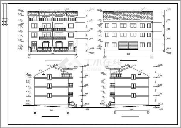 杭州市某社区540平米3层砖混结构联建住宅楼全套建筑设计CAD图纸-图二