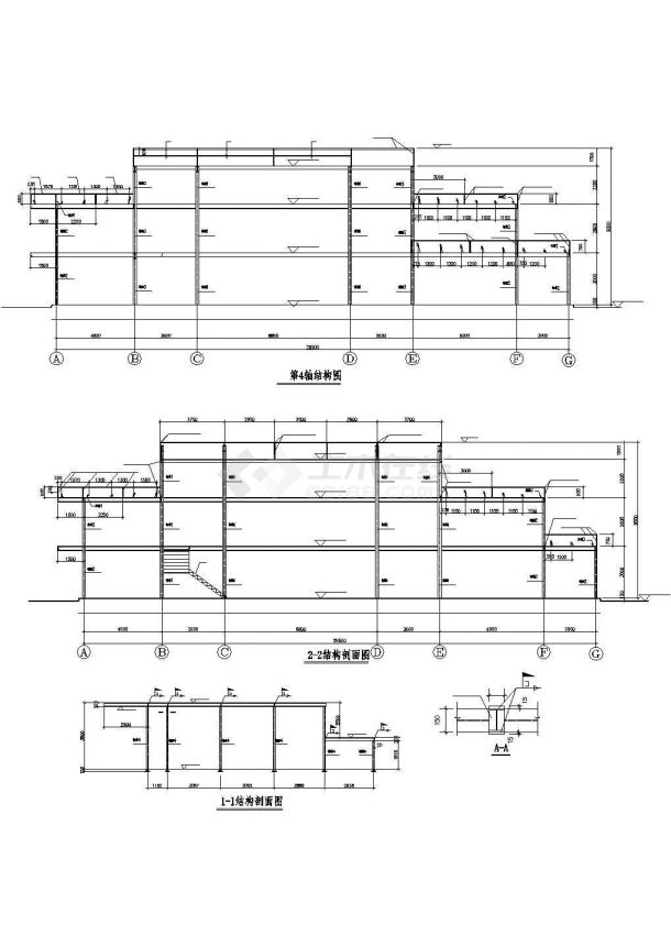 惠州市某新建小区1200平米3层钢结构售楼部建筑设计CAD图纸-图二