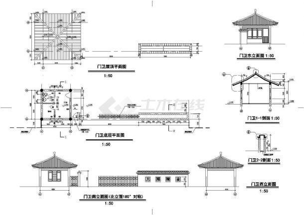 太湖某古建筑施工设计全套CAD图-图二