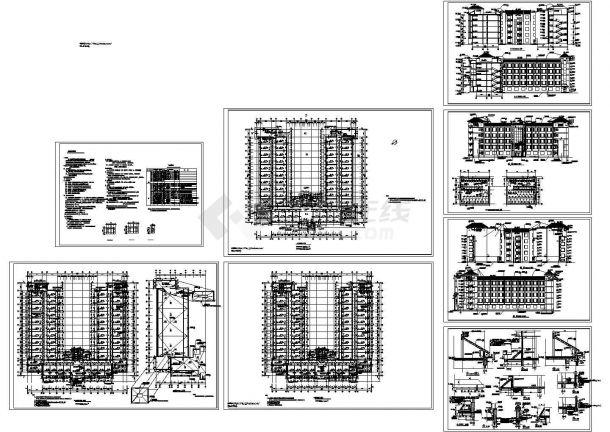 6层10402.26平米砖混U形学生公寓楼建筑施工图【平立剖 卫生间大样平面 节点 门窗表 说明】cad图纸-图一
