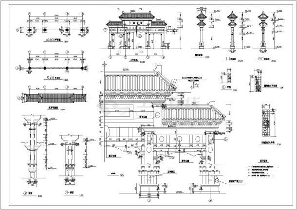 牌楼建筑施工图cad图纸-图二