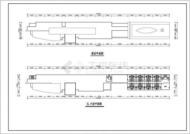 常州市某商业街1.3万平米6层框架百货商场平立剖面设计CAD图纸-图二