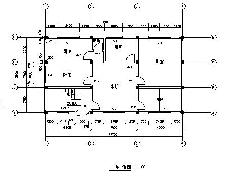 住宅楼设计_某二层经典钢筋混凝土框架结构住宅楼建筑施工cad图(含毕业设计)-图二