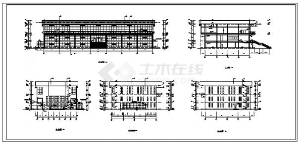 综合楼设计_某三层钢筋混凝土框架结构综合楼全套建筑施工cad图(含预算书)-图一
