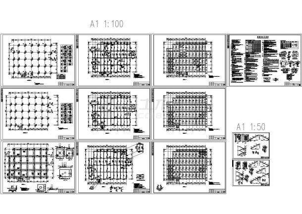 某双层框架菜市场结构设计图CAD,12张图纸。-图一