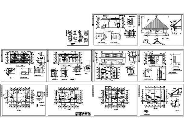 某3层农村私人别墅设计cad全套建筑施工图纸(标注详细)-图二