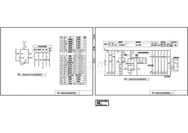 某标准型号排风排烟双速风机电路控制原理设计CAD图纸-图一