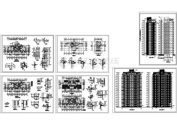 黄金海岸高层住宅楼cad建筑设计全套施工图纸(标注详细)-图一