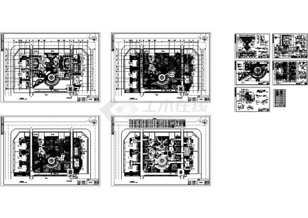 居住区中心广场园林景观工程施工图CAD-图二