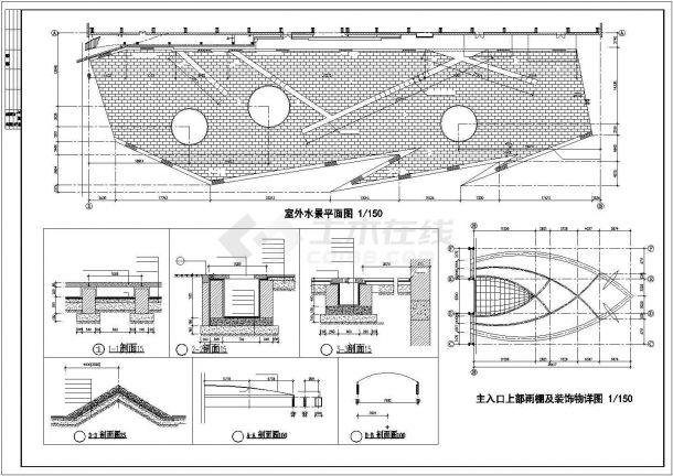 西安市某高校2400平米三层钢结构体育馆建筑设计CAD图纸-图一