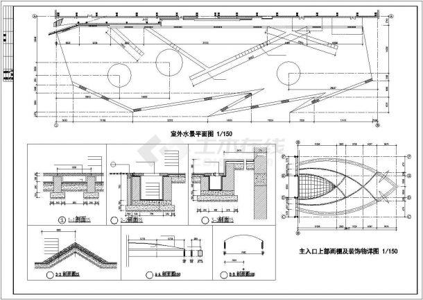 西安市某高校2400平米三层钢结构体育馆建筑设计CAD图纸-图二