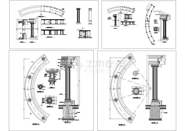 经典欧式廊柱设计cad大样装修施工图(甲级院设计)-图二