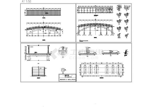 经典通用拱桥cad施工大样设计图(标注详细)-图一