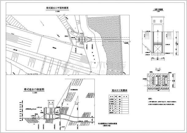 某水电站塔式进水口详细cad设计施工图(甲级院设计)-图一