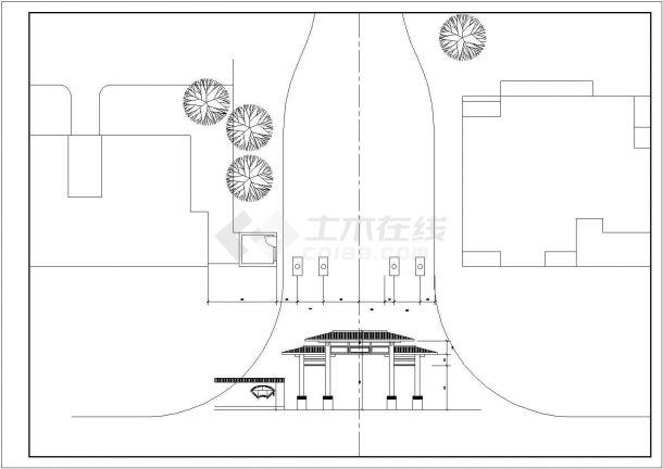 西安某小区仿古典牌楼大门建筑设计CAD图纸-图一