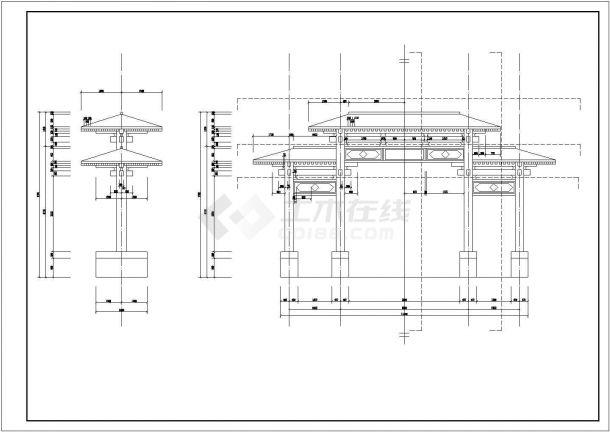 西安某小区仿古典牌楼大门建筑设计CAD图纸-图二