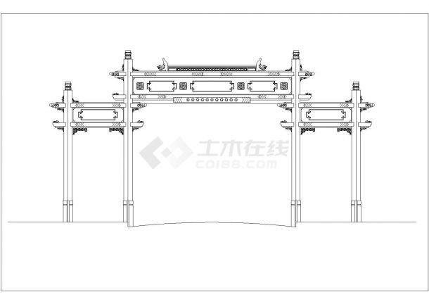 济南市某城中村大型牌楼立面设计CAD图纸-图一