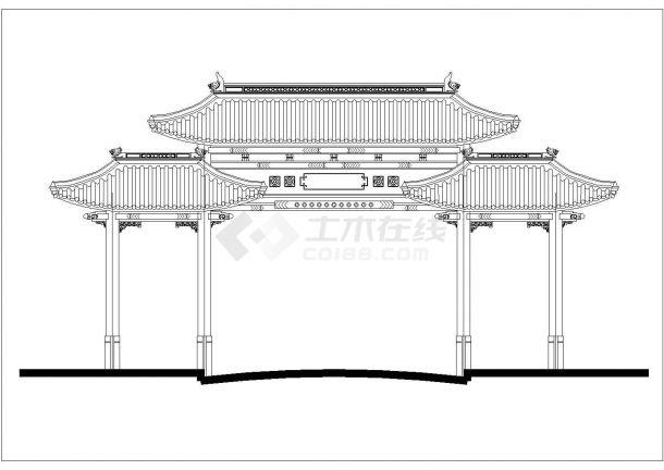 济南市某城中村大型牌楼立面设计CAD图纸-图二