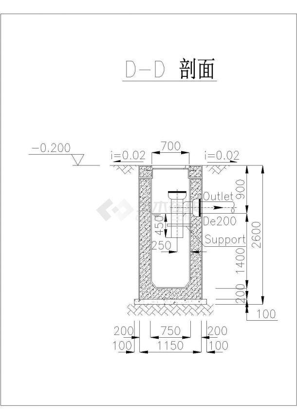 2m3混凝土化粪池设计施工图纸(中英文版本)cad图纸-图二
