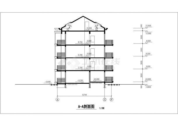 三层+四层两套双拼式民居楼全套建筑设计CAD图纸(含阁楼层)-图二