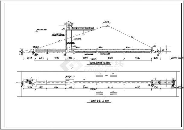 【精选】水库工程穿坝涵洞设计CAD图纸-图一