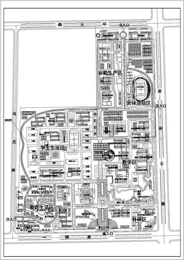 某科技大学新校区规划设计cad施工总平面图-图一