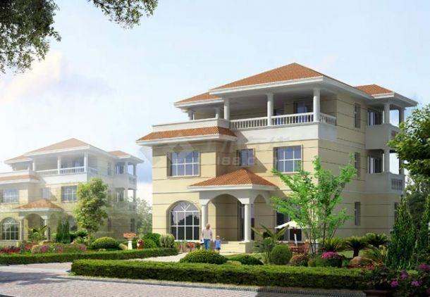 某三层砖混结构现代高档独栋别墅设计cad全套建筑施工图(含设计说明,含效果图)-图一