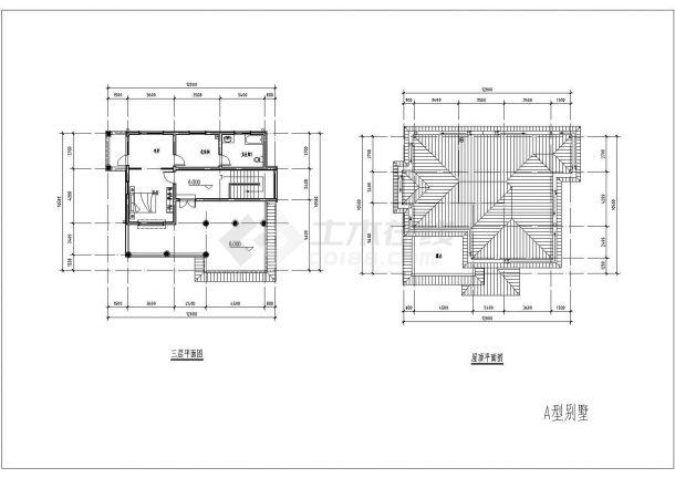 某三层砖混结构现代高档独栋别墅设计cad全套建筑施工图(含设计说明,含效果图)-图二