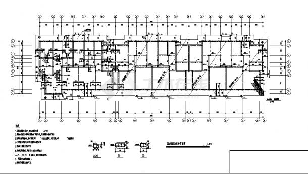 7层砖混住宅楼结构设计施工cad图纸(含地下一层)-图一