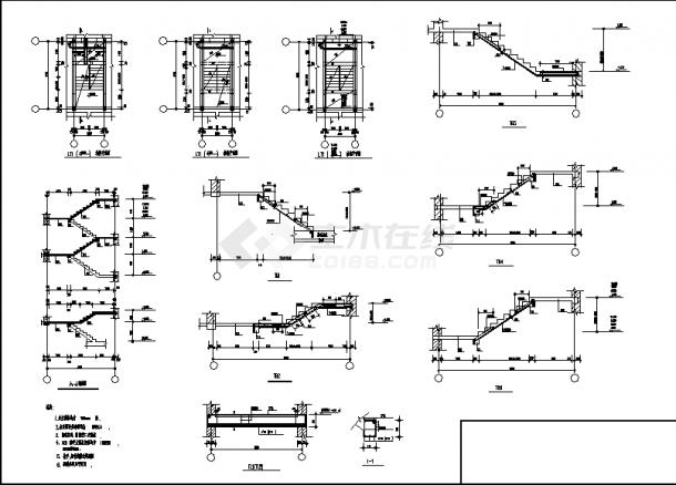 7层砖混住宅楼结构设计施工cad图纸(含地下一层)-图二