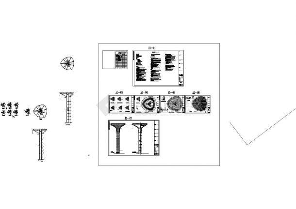 49米高体育中心景观塔结构施工图纸(含建筑图18吨消防水箱)-图一