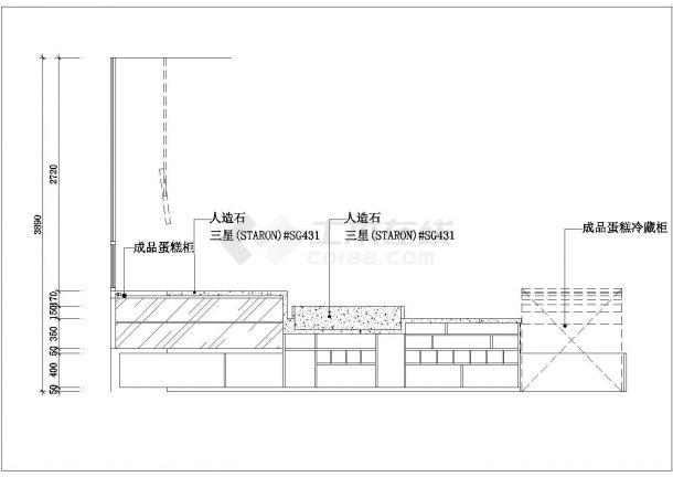 超港黄山店室内装饰设计cad施工图纸-图一