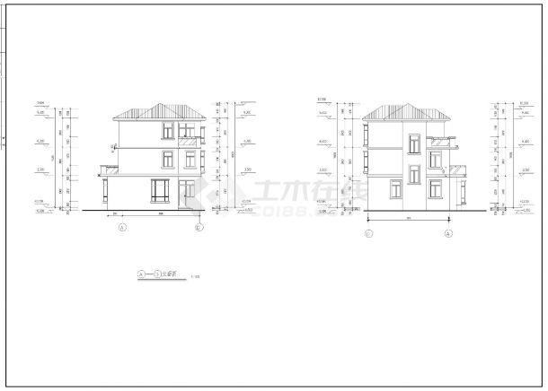 220平方米三层复式别墅建筑全套施工cad图,含效果图-图一