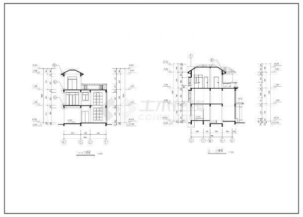 220平方米三层复式别墅建筑全套施工cad图,含效果图-图二