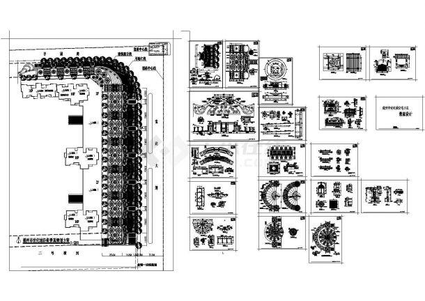 某【著名】住宅小区景观(cad)设计图纸【商业广场地面铺设 喷泉 入口 台地水池花坛 喷泉广场影壁 步行廊 下沉广场 围墙】-图一