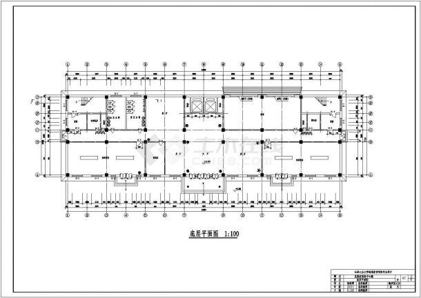 办公楼设计_某地六层五千五平米混凝土框架结构商务中心设计CAD图-图二