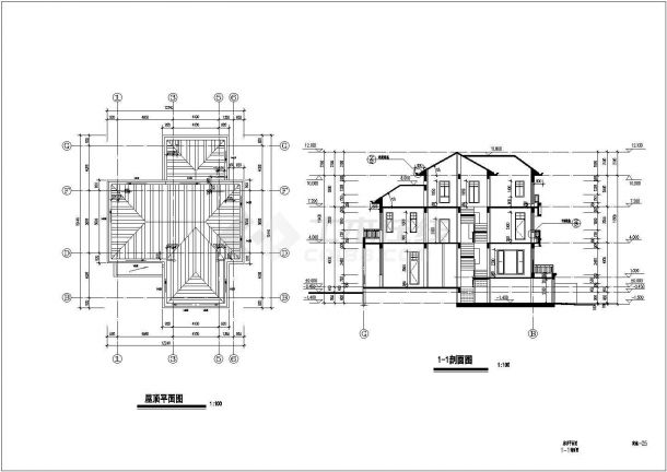 某中式独栋3层别墅建筑详细设计施工方案CAD图纸-图一