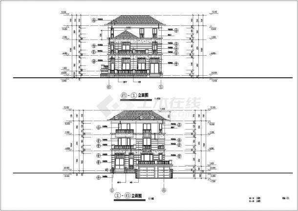 某中式独栋3层别墅建筑详细设计施工方案CAD图纸-图二
